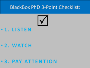 BlackBox PhD 3-Point Checklist