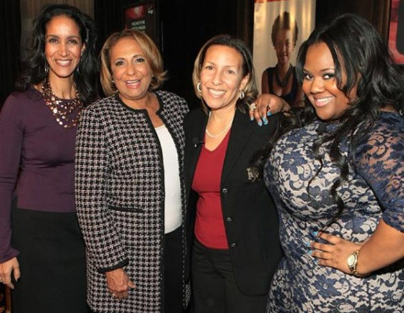 'Black Enterprise Business Report' host Caroline Clarke, Radio One Chairperson and founder Cathy Hughes, guest, and theYBF.com founder and CEO Natasha Eubanks
