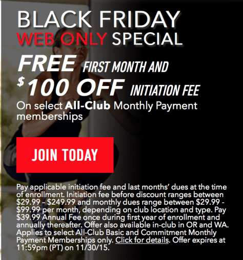 24 Hour Fitness Black Friday 2015 Ad - Page 1