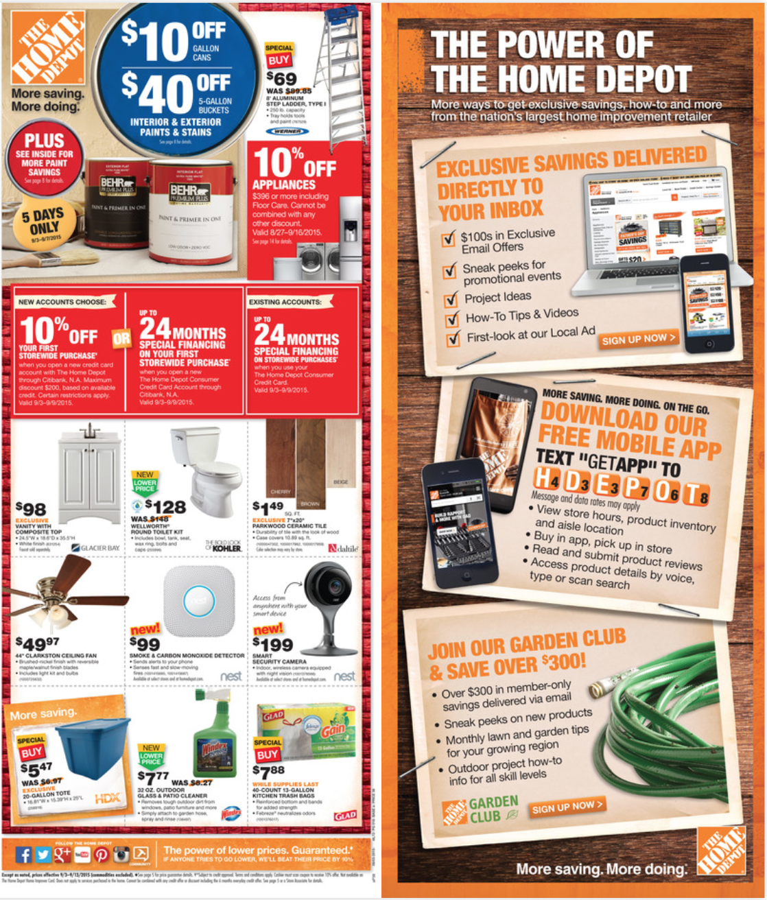 Home Depot Labor Day 2016 Sale Ad Mailer Coupons