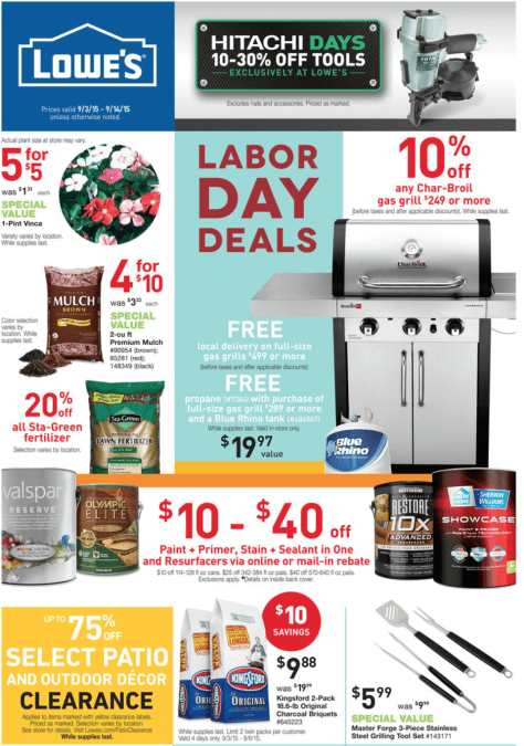 Lowes Labor Day 2016 Sale Deals