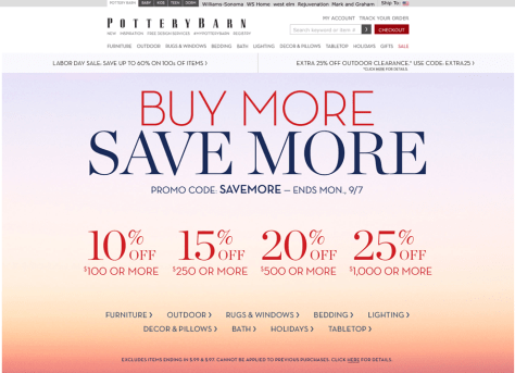 Pottery Barn Labor Day Sale 2015 - Page 1