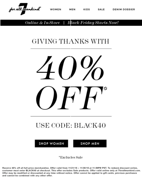 7 for all mankind Black Friday 2015 Ad - Page 1