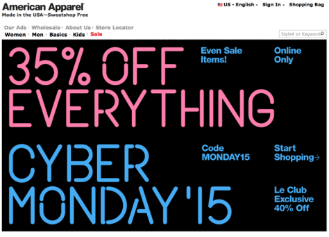 America Apparel Cyber Monday 2015 Ad - Page 1