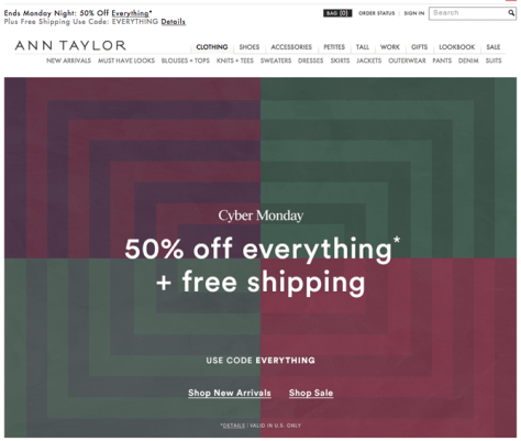 Ann Taylor Cyber Monday 2015 Ad - Page 1