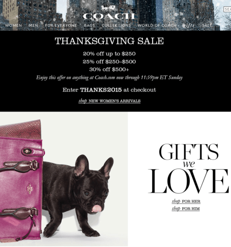 Coach Black Friday 2015 Flyer - Page 1