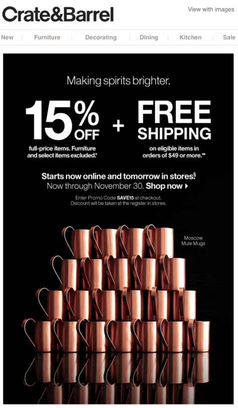 Crate and Barrel Black Friday 2015 Flyer - Page 1