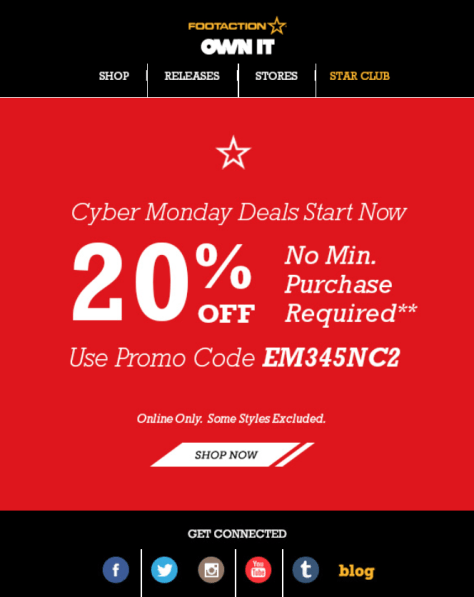 Footaction Cyber Monday 2015 Ad - Page 1
