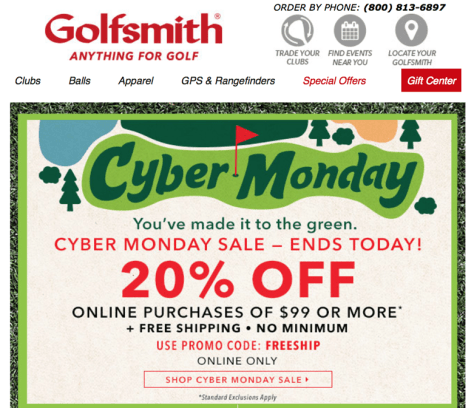 Golfsmith Cyber Monday 2015 Ad - Page 1