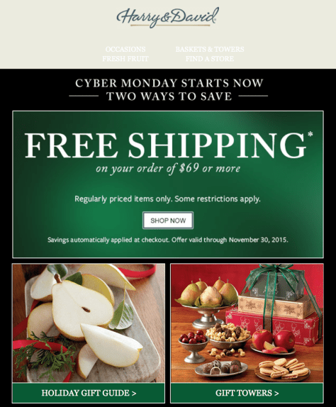 Harry and David Cyber Monday 2015 Ad - Page 1
