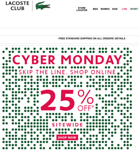 Lacoste Cyber Monday Ad - Page 1