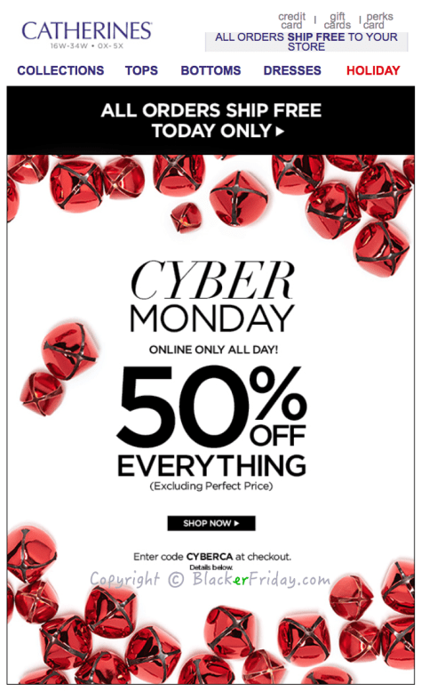 Catherines Cyber Monday Ad Scan - Page 1
