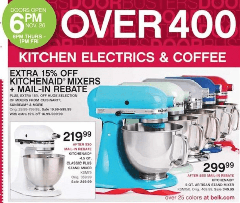 KitchenAid Artisan Mixer Black Friday - Belk
