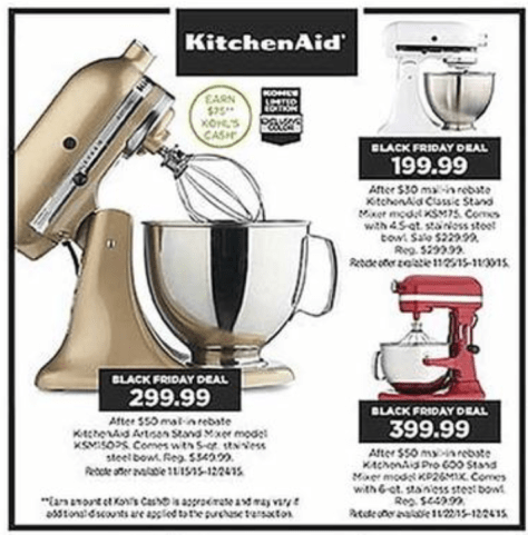 KitchenAid Artisan Mixer Black Friday - Kohls