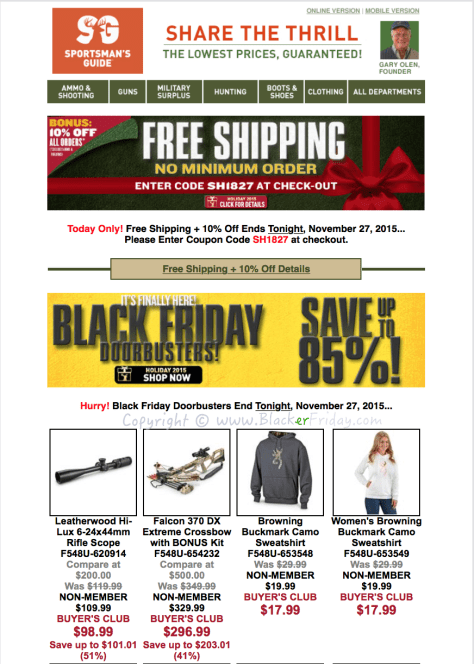 The Sportsmans Guide Black Friday Sale Flyer - Page 1