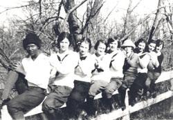 Lulu Johnson (left) with members of her Sunday School class, Gravity, Iowa, 1924