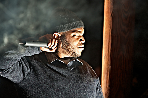 Styles P preparing to go into the second verse of a song.