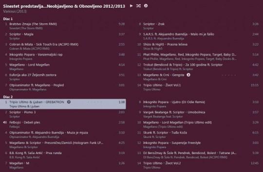 tracklist Sinestet predstavlja Neobjavljeno & Obnovljeno 2012/2013 (download)