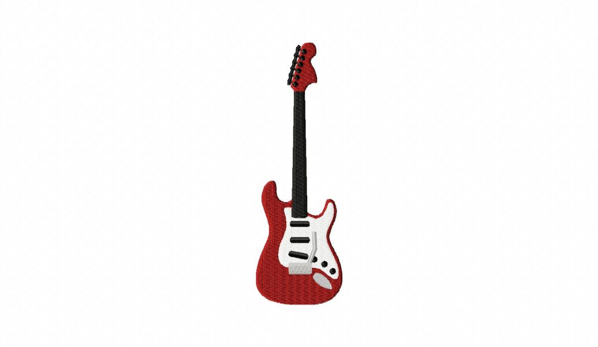 electric rock guitar machine embroidery design