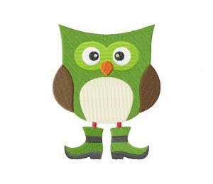 03 Owl With Boots Stitched 5_5 Inch