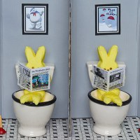 Everyone Peeps, cheeky diorama by Kate Hohman shows Peeps 'pooping' Marshmallow Fluff