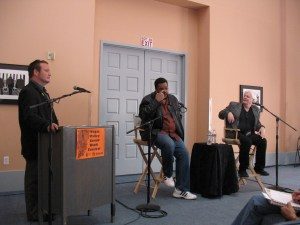F. Andrew Taylor moderates a discussion on breaking into comics with writers Dwayne McDuffie and Steven Grant at the 2008 Vegas Valley Comic Book Festival