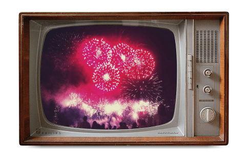 Image of an old TV set. It is displaying fireworks. The color is muted and the picture is grainy. A metaphor for my vision.