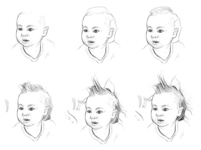 Une planche pour apprendre à dessiner les cheveux des bébés