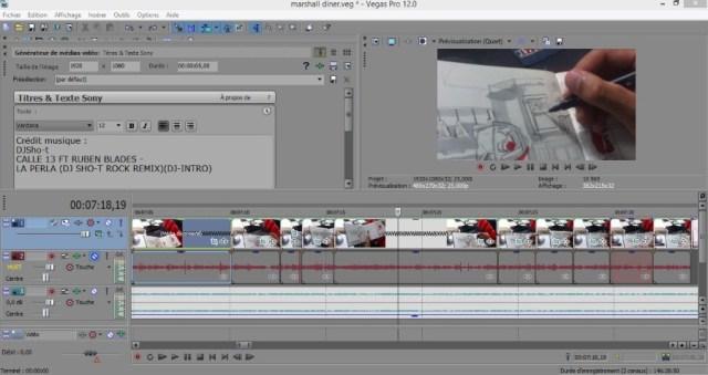 Le logiciel Sony Vegas utilisé pour le montage de ma vidéo de croquis