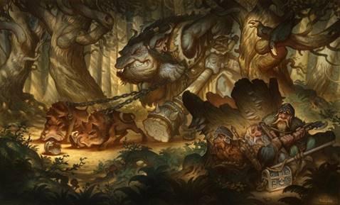 Peinture de Justin Gerard – The Forrest Troll – media mixte, aquarelle et numérique