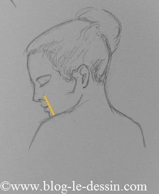 exemple dessiner une bouche de profil sur visage