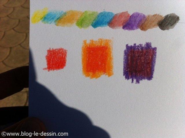 crayons aquarelle test carres