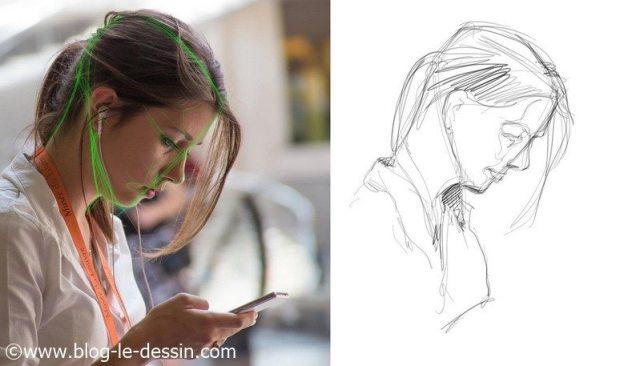 dessin portrait rapide observation