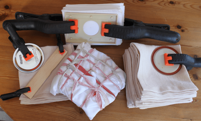 Linen napkins and quilting cotton wrapped and bound - itajmie shibori