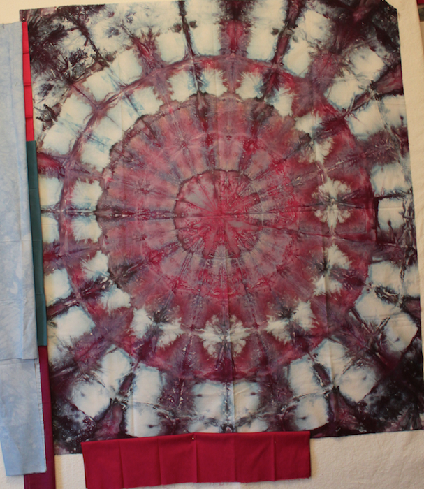 Cosmos fabric selection using Doris lovadina-Lee's hand dyed and snow dyed cotton quilting fabric