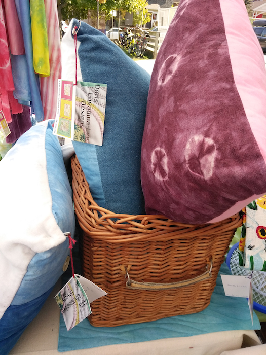 Shibori hand dyed linen and cotton pillows made by doris lovadina-lee