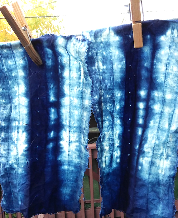 Scrap cotton from the roland ricketts indigo dyeing workshop attended by doris lovadina-lee in toronto canada