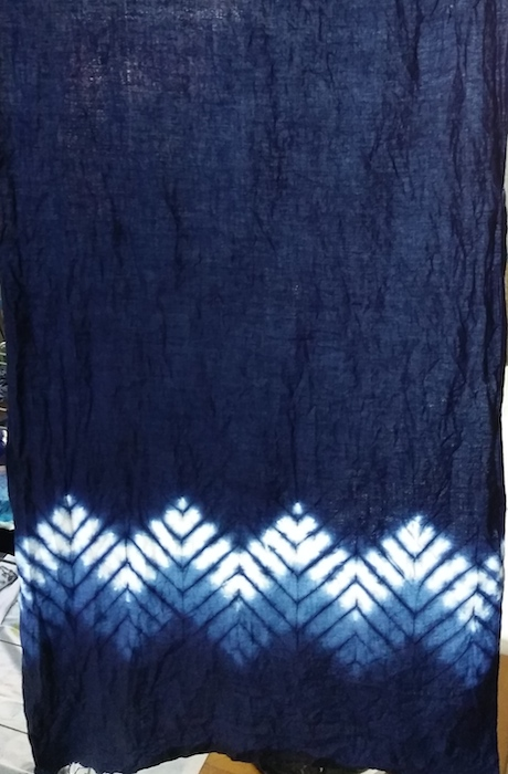 indigo tea towel sample by Roland Ricketts in the master class in indigo dyeing