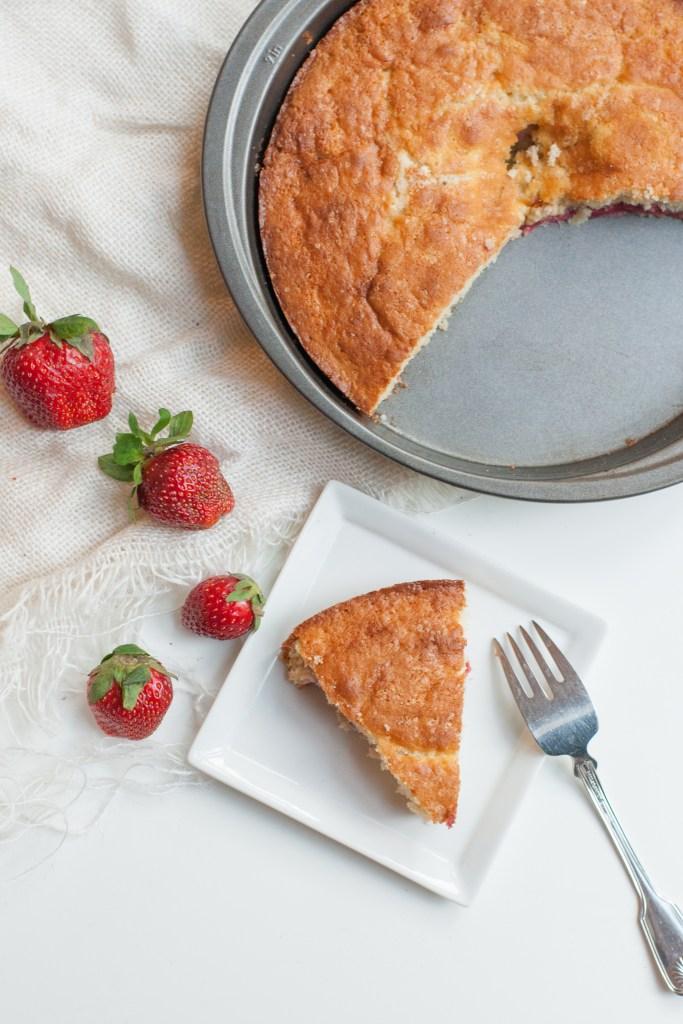 Strawberry Rhubarb Buttermilk Cake Recipe | Gather Goods Co
