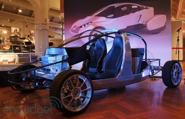 Edison2 shows off an updated Very Light Car EV by exposing its unique frame handson