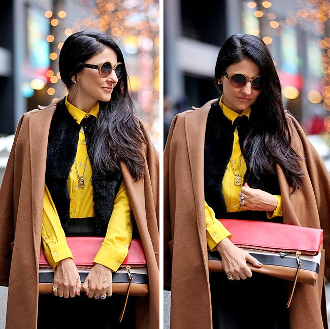 Camelo + amarelo + preto para um look marcante