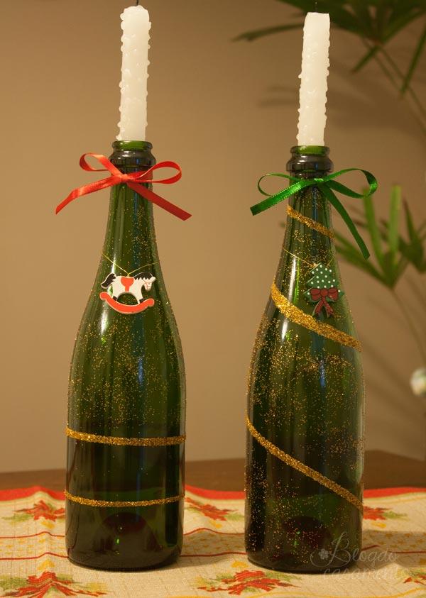 Decoração de Natal com garrafas de espumante
