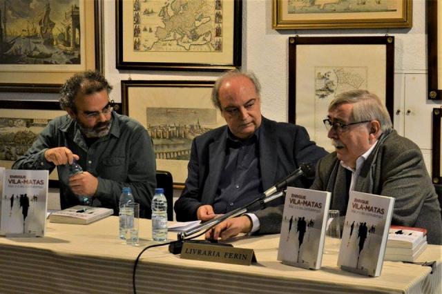 Gonçalo Tavares, V-M, Carlos da Veiga en Livraría Ferin. Lisboa. 24.11.17