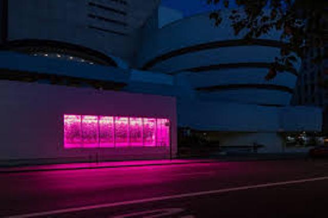 """Una luz del invernadero proyecta un resplandor extraño en la Quinta Avenida de Manhattan el 13 de mayo. Aunque la pandemia cerró la exposición """"Countryside"""" del Guggenheim, su cosecha de tomates todavía está creciendo y alimenta a los neoyorquinos."""