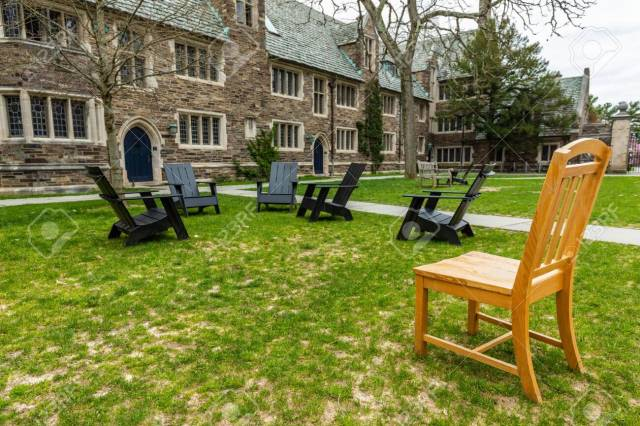 Princeton, NJ / USA - 4/3/2020: Empty campus of Princeton University during Coronavirus quarantine at day