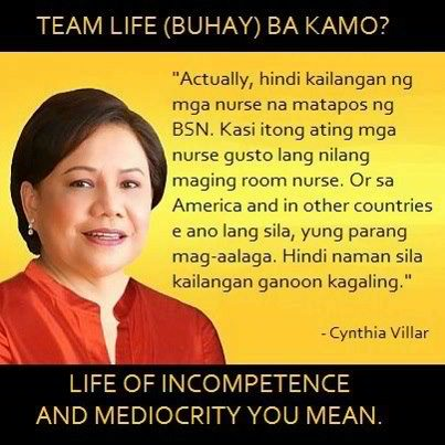 cynthia villar on filipino nurses Update: Cynthia Villar | Room Nurse