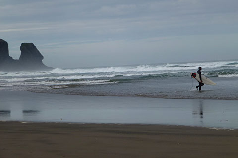Bethells Beach surfer