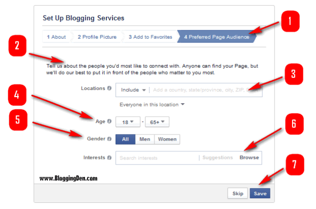 prefered page audience setup in facebook page creation