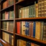 Bookshelves full of old books