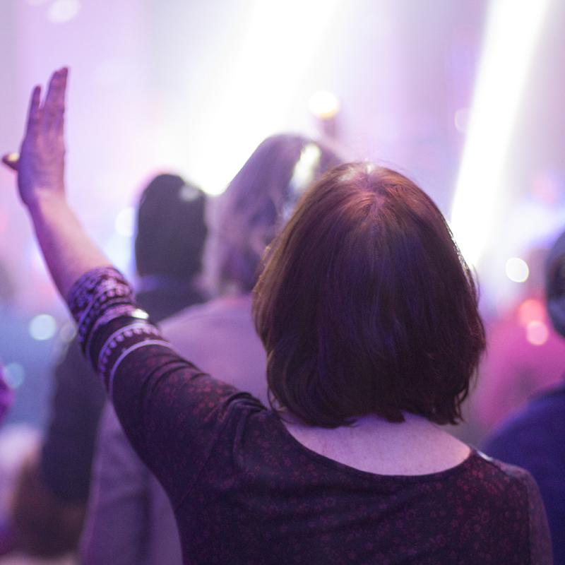 Hand raised in worship